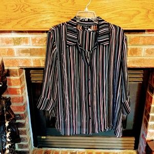 George brand striped two-piece blouse 22w